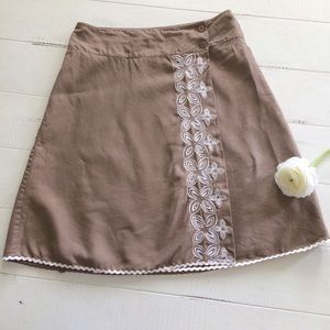 Brown 100% Linen Wrap Skirt w/Rik-Rak trim